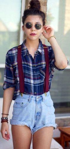 Woo, Damn Cool Combo; Top Knot Bun + Suspenders ||| How to wear Suspenders in Style