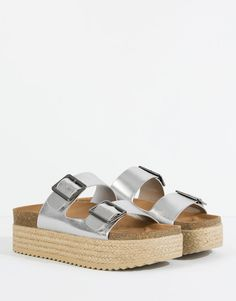 Pull&Bear - shoes - sandals - block sandals with buckle trim - silver - Block Sandals, Shoes Sandals, Pull N Bear, Silver Sandals, Get Dressed, Latest Fashion Trends, Birkenstock, Fashion Shoes, Espadrilles