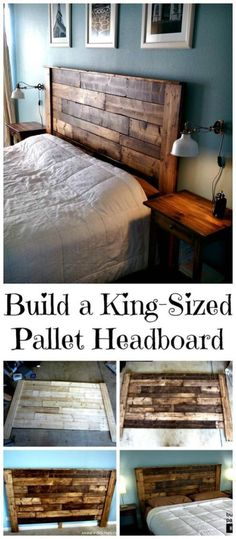 DIY King-Sized Pallet Headboard Tutorial - 150 Best DIY Pallet Projects and Pallet Furniture Crafts - Page 36 of 75 - DIY & Crafts - Diy Zuhause Diy Pallet Furniture, Rustic Furniture, Home Furniture, Furniture Design, Furniture Ideas, Furniture Storage, Apartment Furniture, Furniture Online, Apartment Ideas