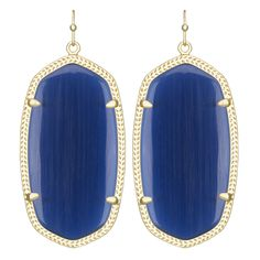 The Danielle Earrings are a vintage inspired piair that will give you an air of sophistication! Magnificent Navy Cat's Eye stones are adorned with lavish Gold frames to create that classic look you ha