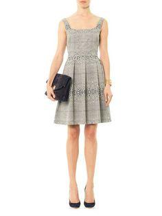 ISSA Jacquard square-neck dress