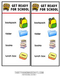 So cute! Printable get ready for school chart- makes morning routine less chaotic from @30daysblog.