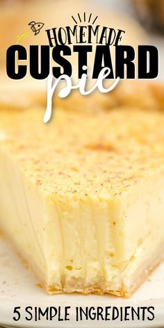 Custard pie is an old fashioned, southern dessert that people have been making for nearly 200 years. With eggs and milk being the main ingredient to make a custard filling - and nutmeg sprinkled on top - this pie is smooth, silky and ridiculously rich. It's always a big hit with guests!