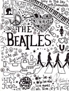 The Beatles cartoon dooble so good idea to draw all over a sketchbook front cover