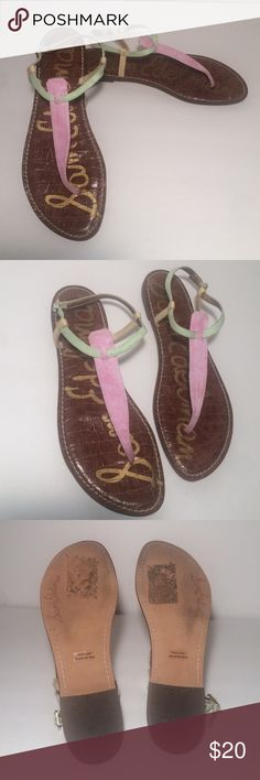 Sam Edelman Gigi Sandals These Sam Edelman Gigi sandals are in good used condition. They have red, green, and yellow straps. These are a size 10 Sam Edelman Shoes Sandals