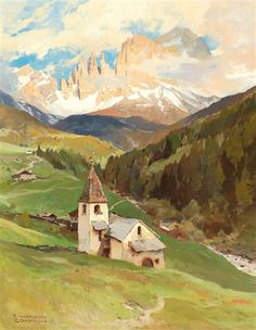 "Blick auf St. Cyprian und den Rosengarten"" [View of St Zyprian and the Rosengarten massif] By Edward Harrison Compton; oil on canvas; 90 x 70 cm; Signed; . Access more artwork lots and estimated & realized auction prices on MutualArt."
