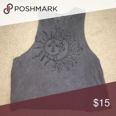 bm the sun and the moon tank awesome condition // raw cut muscle tank (I bought it like this) // has a naturally faded look Brandy Melville Tops Tank Tops