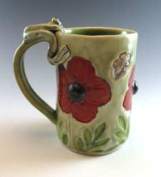 Red Poppy Mug with Emerald Green  Large Coffee by Botanic2Ceramic, $44.00