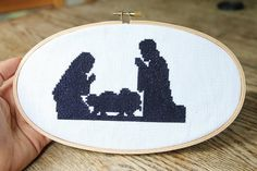 Nativity Silhouette Cross Stitch Pattern by DoSmallThingsWLove