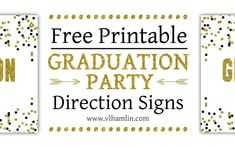 Black and Gold Polka Dots Graduation Party Sign Set 2 Unicorn Party Invites, Party Invitations, Free Printables For Home, Dot Foods, Free Web Design, Directional Signs, Gold Polka Dots, Life Design, Grad Parties
