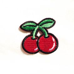 Mini Red Cherry / Iron-on Patch / Fruit Embroidery / by Tattooit