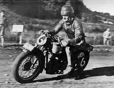 Burt Munro Riding a standard model 500MSS Velocette, won 2nd place in the N.Z. Grand Prix held at Cust 1938.