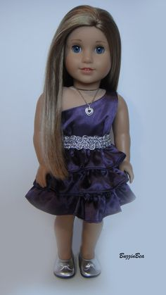 Purple OneShoulder Satin Dress  for American Girl Dolls by BuzzinBea