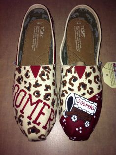 IF YOU CAN'T TELL I'M READY FOR SOME *FOOTBALL*!  OU custom painted Toms by SweetHeartShoes on Etsy, $95.00