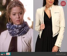 Ali's white leather jacket on Pretty Little Liars.  Outfit Details: http://wornontv.net/46943/ #PLL