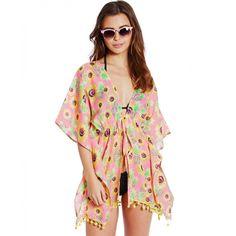Boutique Pink Pineapple Sunflower Pom Hem Kaftan