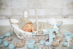 Baby Bunny Hat and Cape Newborn Photography Prop., Easter eggs and initial Letter props