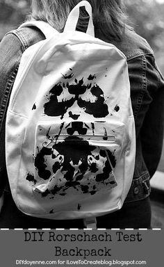 DIY Rorschach Test Backpack from Margot Potter for iLoveToCreate Cute Diys, Cute Crafts, Crafts To Do, Diy Crafts, I Love School, Diy Back To School, Pretty Backpacks, Rorschach Test, Diy Backpack