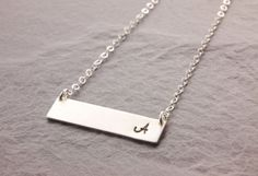 Initial Bar Necklace, silver bar necklace, gold bar necklace, monogram necklace, name plate necklace, initial necklace, mothers day, N24