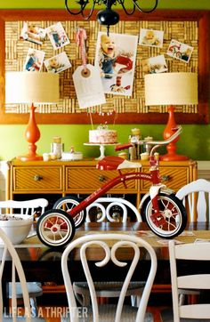 Red Tricycle themed 1st birthday party - cake table