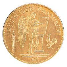 Invest in this 100-year-old French Angel gold coin made of .900 pure gold. Considered lucky by the coin's designer, Augustine Dupre, this coin was discovered in Europe and is a much-sought-after piece