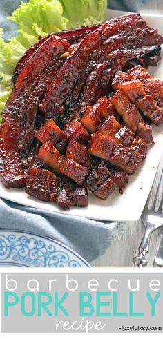 BBQ Pork Belly Recipe - Try this simple recipe for sweet and savory BBQ Pork Belly grilled in the oven. It only needs 5 ing - Grilled Pork Belly Recipe, Pork Belly Recipe Oven, Pork Belly Marinade, Easy Pork Belly Recipes, Sweet Recipes, Best Bbq Recipes, Meat Appetizers, Appetizer Recipes, Pork Belly Slices