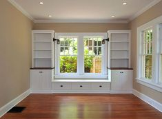 Built In With Window Seat Design. What I want to have built in our dining room.