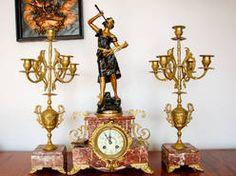 zegar kominkowy z kandelabrami marmur sygnowany