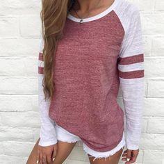 67b4cdc2df3 LASPERAL Women Striped Splicing Baseball Tshirt 2018 Spring Fashion O Neck Long  Sleeve Top Tee All Matched T Shirt Plus Size 5XL