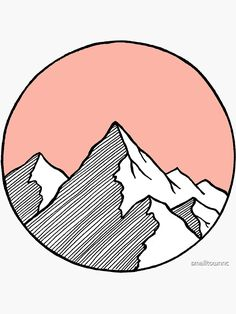 Aesthetic Patterns Discover Mountains Sketch Sticker by smalltownnc Cute Canvas Paintings, Small Canvas Art, Mini Canvas Art, Easy Paintings, Aesthetic Painting, Aesthetic Art, Aesthetic Black, Mountain Sketch, Mountain Drawing
