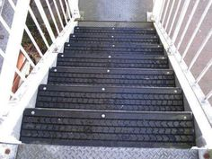 Reuse tires for no slip outdoor stairs.