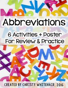 6 activities and poster to help students review abbreviations. 4th Grade Ela, Create Invitations, Upper Elementary, Teaching Reading, Students, Activities, Poster, Secondary School, Billboard