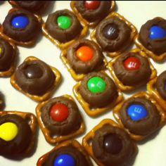 Chocolate pretzel treats .   Pretzel+Kiss @ 170 F for 6 minutes. Top with M Chill for 10 minutes.  EAT.