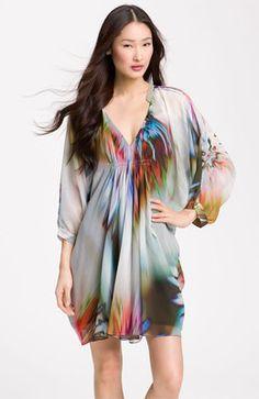 Maggy London Chiffon Shift Multicolored Dress
