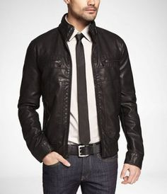 (MINUS THE) LEATHER DISTRESSED BOMBER JACKET - Express Men