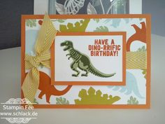 stampin no bones about it birthday Card Boy orange dino Dinosaurier t-Rex geburtstagskarte junge kinder children