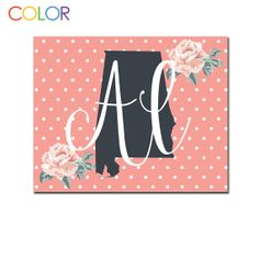 Customizable State Wall PrintPink and White by ColorPrintables, $5.00