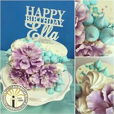 Happy birthday Ella laser cut and hand dipped in crystal white glitter  cake topper adorns a beautiful cake
