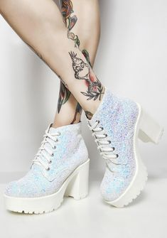 "ROC Boots Sweet Dreams Glitter Boots | Dolls Kill | $149 | These iridescent ankle boots have rounded toes with textured tread soles to keep ya steady and a classic lace-up closure. White Iridescent, Upper: Man Made Materials; Lining: Leather, 3.75"" Heels, 1.25"" Platforms, These BBz are in U.S. sizing; peep the size chart for ur perfect fit!"