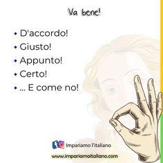 """""""Mi piace"""": 213, commenti: 0 - Learning Italian online (@learnitaliannow) su Instagram: """"VA BENE ! D'accordo! Giusto! Appunto! Certo! ... E come no!  👉 Sul nostro sito…"""""""