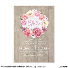Watercolor Floral Botanical Wreath Rustic Wedding Card Elegant watercolor blush pink flowers rustic barn wood wedding invitations