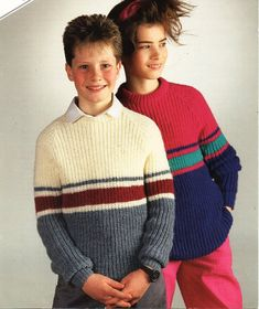 """childrens sweater knitting pattern pdf download childs ribbed jumper striped round neck 24-34"""" DK light worsted 8ply pdf Instant download by Minihobo on Etsy"""