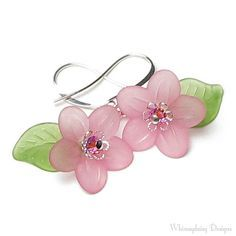 Pure Romance Pink Floral Swarovski Crystal by whimsydaisydesigns Lucite Flower Earrings, Beaded Earrings, Silver Earrings, Beaded Jewelry, Flower Jewelry, Paper Jewelry, Jewelry Crafts, Quartz Crystal Necklace, Crystal Earrings
