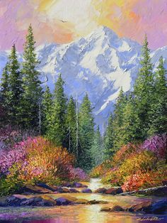 What is Your Painting Style? How do you find your own painting style? What is your painting style? Mountain Paintings, Nature Paintings, Nature Oil Painting, Beautiful Paintings Of Nature, Painting Flowers, Landscape Art, Landscape Paintings, Pallet Painting, Painting Abstract