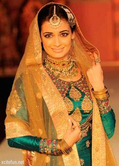 Dia Mirza in Muslim Bridal wear Indian Wedding Outfits, Indian Outfits, Indian Clothes, Indian Weddings, Desi Clothes, Pakistani Outfits, Rajasthani Bride, Dia Mirza, Indian Attire