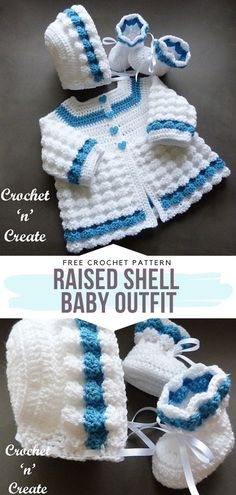 How to Crochet Raised Shell Baby Outfit Raised Shell Baby Outfit Free Crochet Pattern This combination of white and blue is going to make Crochet Girls Dress Pattern, Crochet Baby Sweater Pattern, Newborn Crochet Patterns, Crochet Baby Sweaters, Crochet Baby Cardigan, Crochet Baby Hats, Free Crochet, Baby Set, Baby Baby