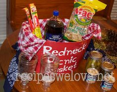 Redneck Picnic Bakset… fun gag gift and great for Father's Day