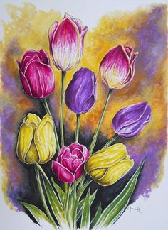 Tulip Painting, Flower Painting Canvas, Fabric Painting, Watercolor Cards, Watercolor Paintings, Mini Canvas Art, Floral Drawing, Environmental Art, Bunt