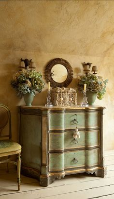 antiqued painted chest