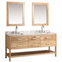 Design Element London 72 in. W x 22 in. D Double Vanity in Oak with Marble Vanity Top and Mirror in Carrara White-DEC077B-O - The Home Depot
